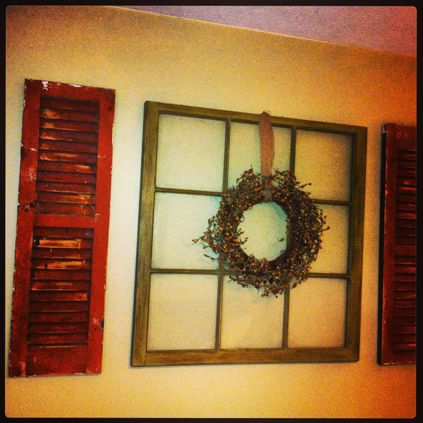 Reclaimed window & shutters wall decor. i may need to do this in my ...