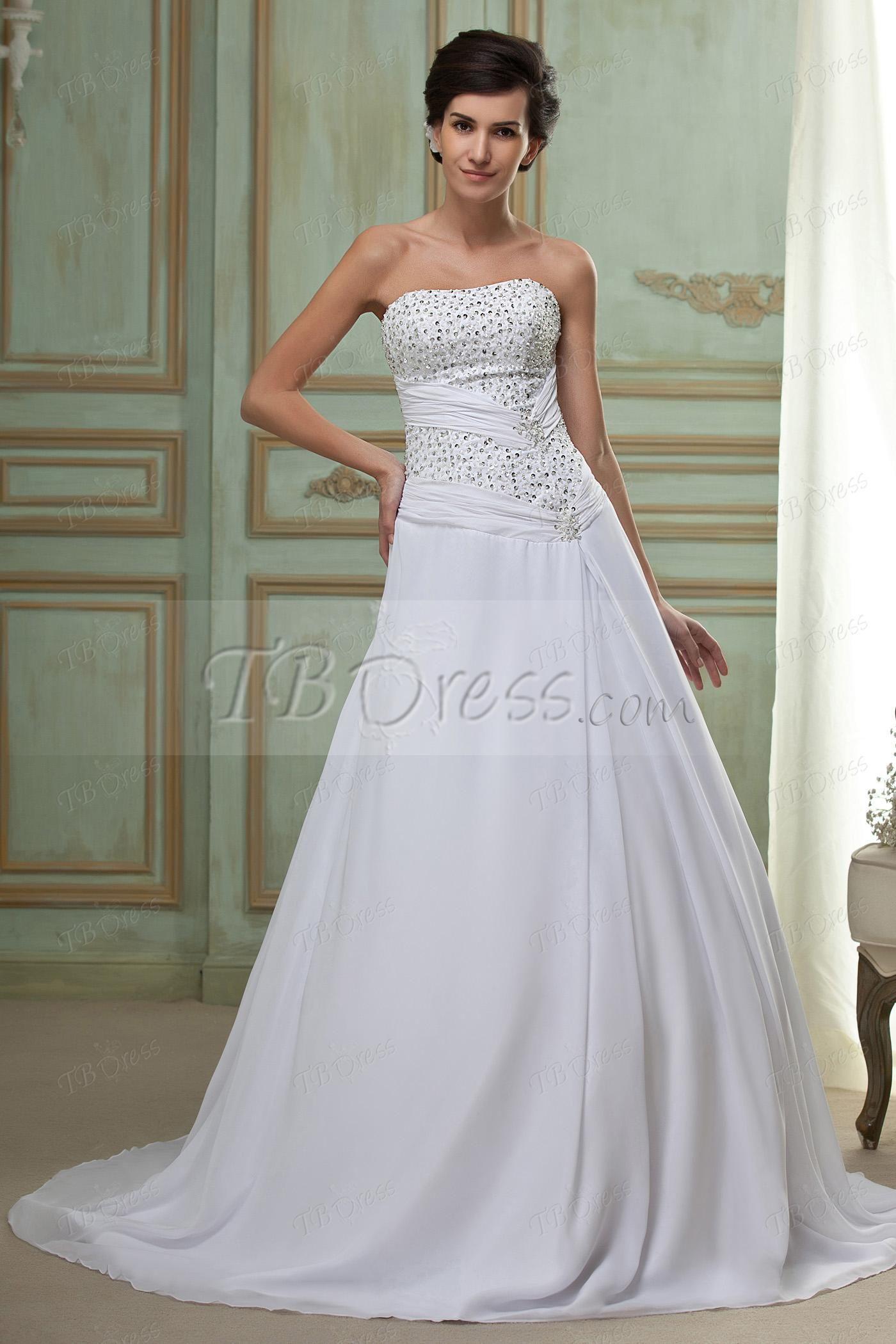 Alineprincess strapless chapel wedding dress chapel wedding