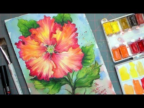 Let S Paint A Hibiscus In Watercolor Painting Watercolor