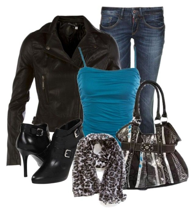 Leather Jacket by denise-schmeltzer on Polyvore featuring polyvore fashion style Replay Lauren Ralph Lauren zappos