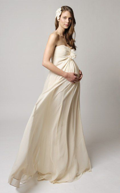 These maternity wedding gowns have been designed to accommodate growing bellies and even the strapless gowns have an extra touch of comfort with their built in bustier for extra support #pregnant #wedding