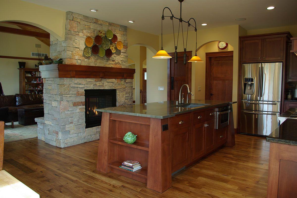 White Oak Residence Highland Builders See Through Fireplace Custom Home Designs Modern Craftsman
