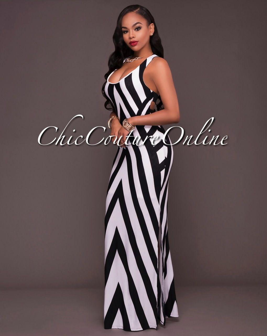 74cc823e21956 Chic Couture Online - Hattie Black White Stripes Cut-Out Back Maxi Dress,  $45.00