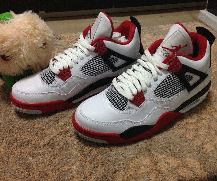 853bc8e9cee531 Nike Air Jordan Retro 4 IV Fire Red White Fear Bred Thunder ...