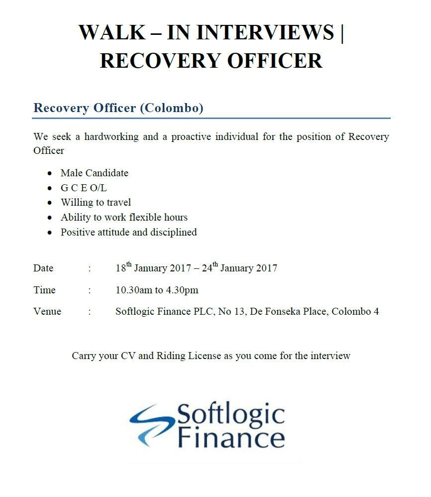 recovery officer at softlogic holdings plc career first