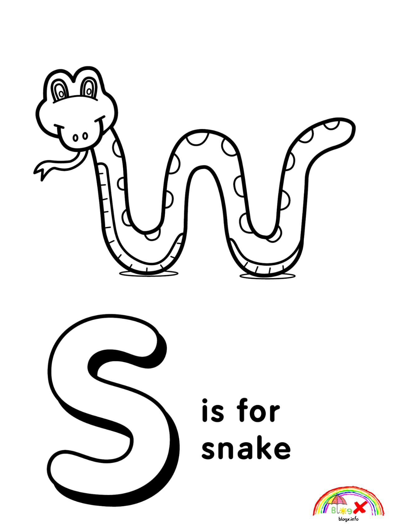 Alphabet Letter S Coloring Page Letter A Coloring Pages Snake Coloring Pages Alphabet Coloring Pages