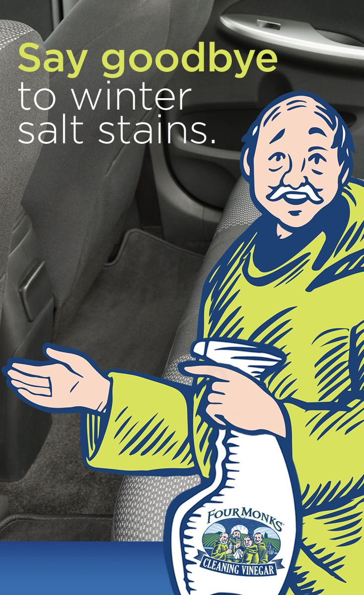 Remove winter road salt residue on car carpeting by spraying with Four Monks™ Cleaning Vinegar