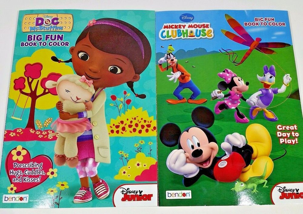 2pk Disney Junior Mickey Mouse Clubhouse Doc Mcstuffins NEW Kids Coloring Books