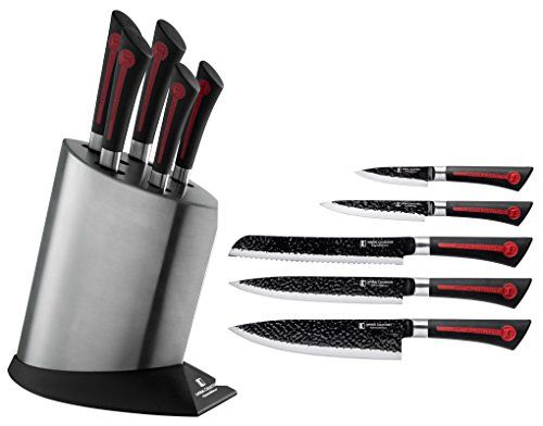 Imperial Collection Stainless Steel Kitchen Cutlery Knife Set With Knife Block And Embossed Nonstick Coating 6pi Stainless Steel Knife Set Knife Kitchen Knives