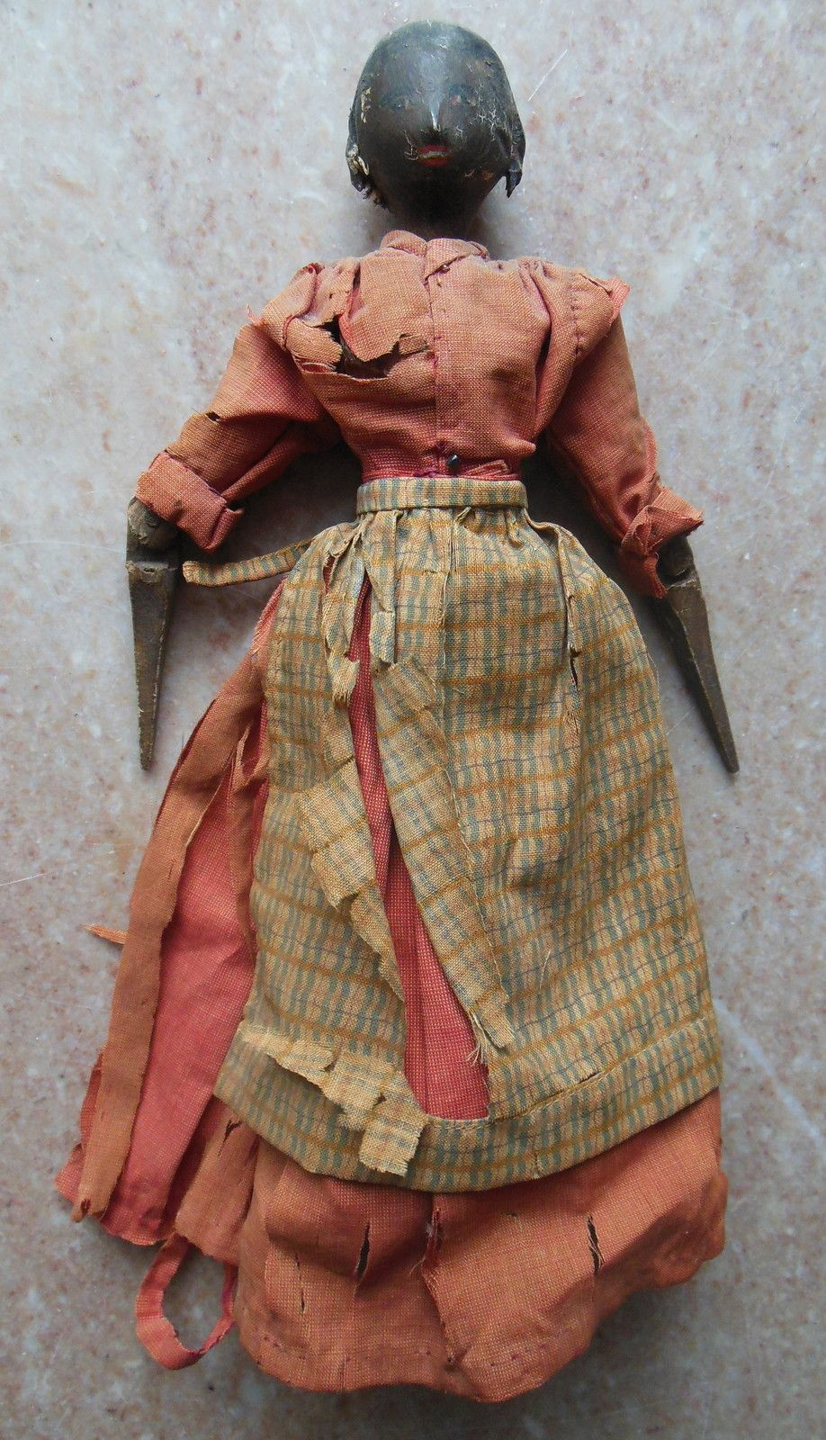 Rare Antique 1840s Black Americana Jointed Wood Doll In