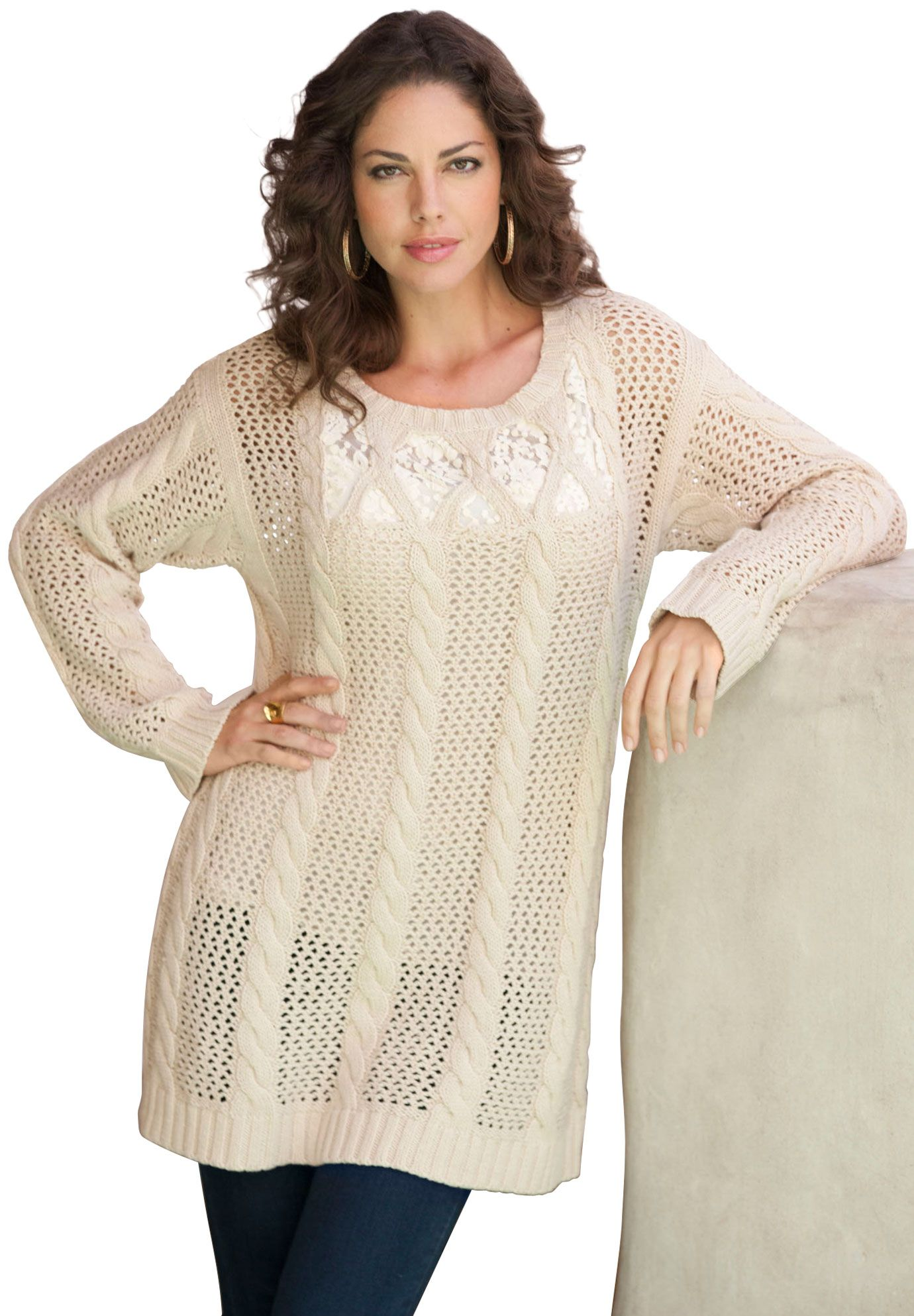 Evening women size tops sweaters lace plus up