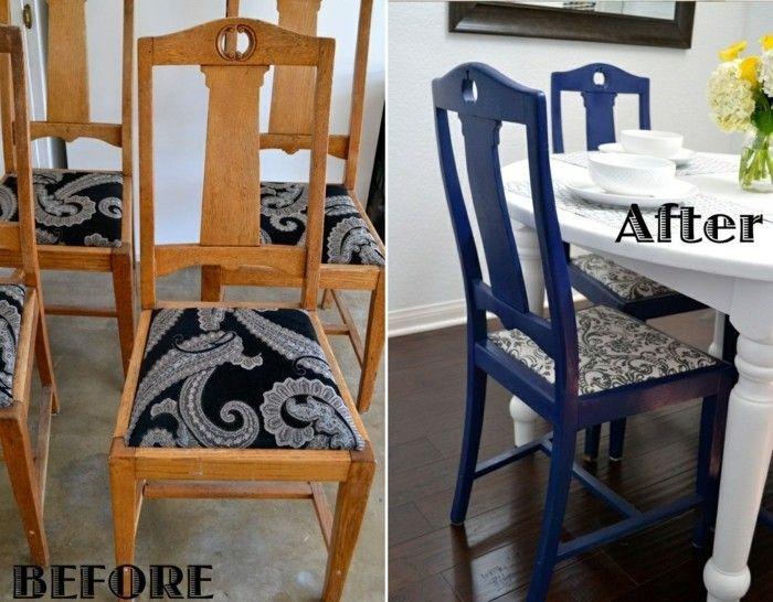 Holzstuhl Alt holzstuhl alt tapezieren blau bemalen weißer tisch vase gelbe blumen