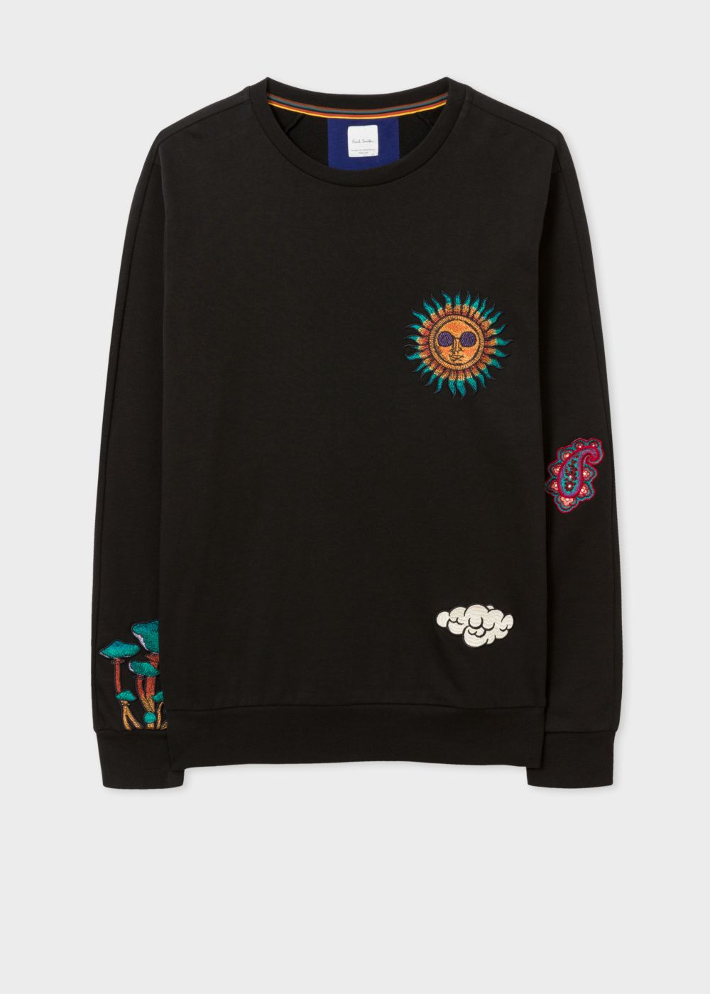 34edf2c9 Paul Smith Men's Black Loopback-Cotton Sweatshirt With 'Psychedelic Sun'  Embroidery