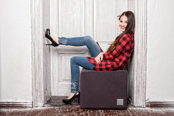 Poofa Premium Graphite Pouf With Exchangeable Cover Pouf Trending Outfits Design