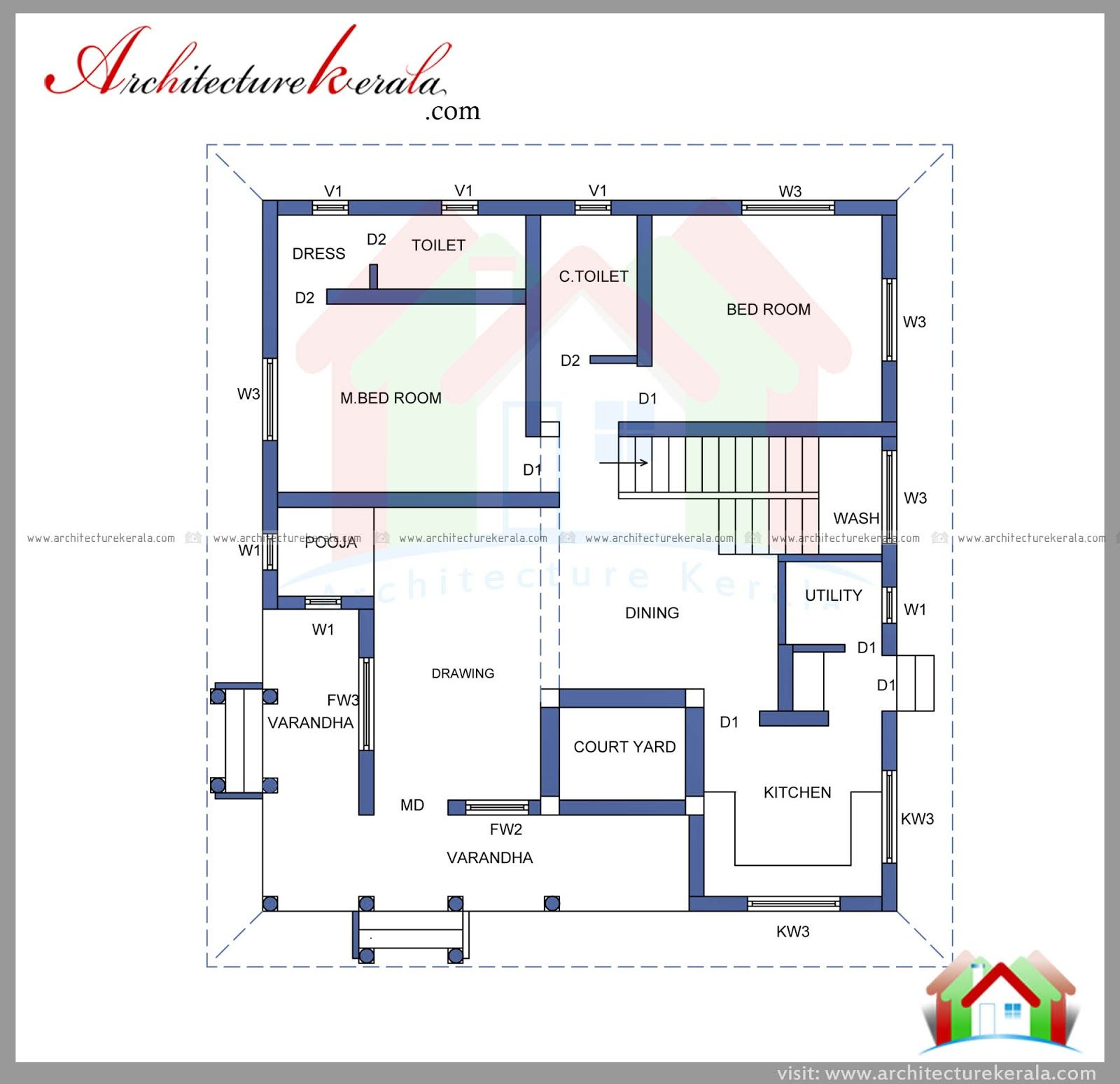 2000 Square Feet 4 Bedroom House Plan And Elevation Free Plan Two Storied House Plan Can Construct In 5 Cen Square House Plans My House Plans Free House Plans