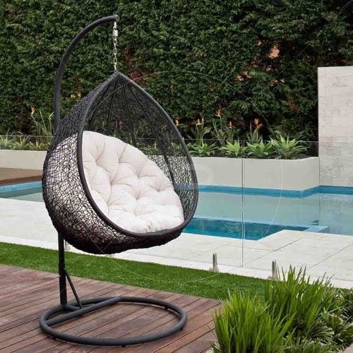 Hanging Egg Chair - Outdoor Rattan Wicker - Black Outdoor Chairs, Outdoor  Furniture, Hanging - Hanging Egg Chair - Outdoor Rattan Wicker Milan Direct Living