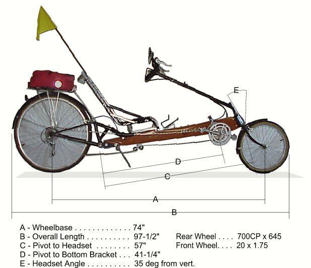 Measured Drawing Of Woody Recumbent Bike Bike Bicycle