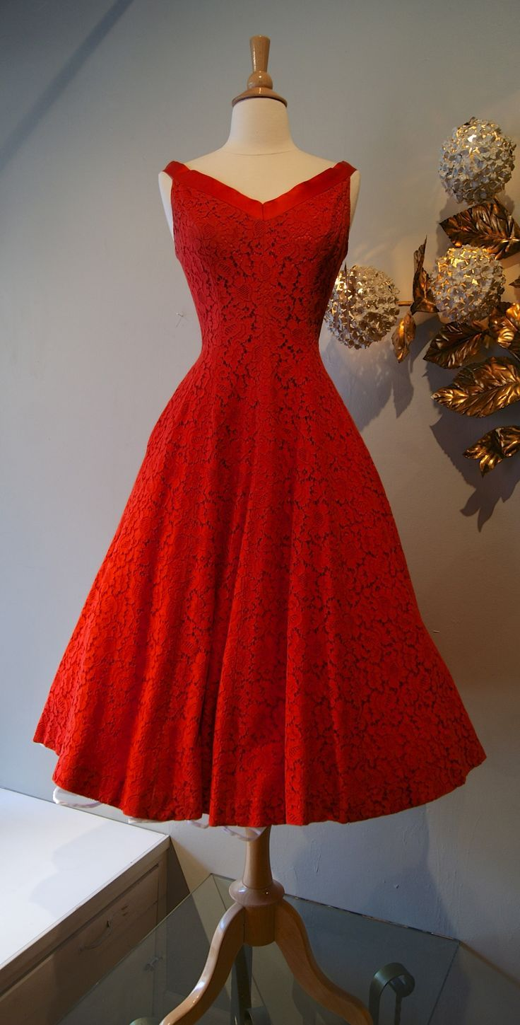 50s Red Lace Prom Dress