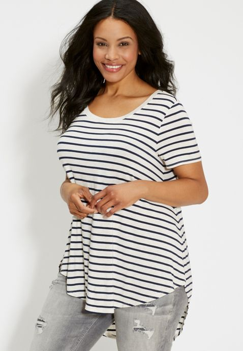 8d332778d9c the 24 7 plus size tunic tee with high-low hem and heathered stripes ...