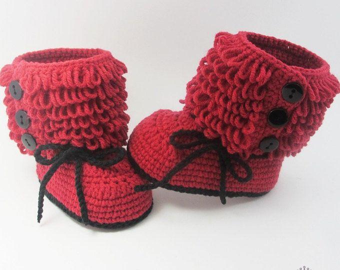 Zapatos de bebé roja de ganchillo bebé botines bebé rojo zapatillas ...