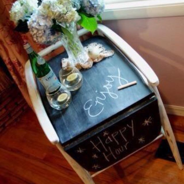 Chalk board paint on a piece of furniture