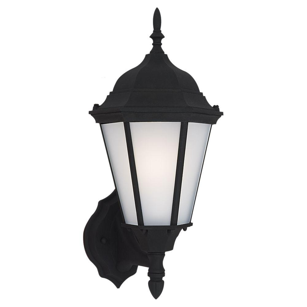 Sea Gull Lighting Bakersville 1-Light Black Outdoor 17 in. Wall Lantern Sconce #lightemittingdiode