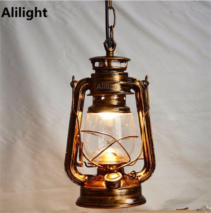 Goedkope Antieke Bronskleur Europa Retro Klassieke Kerosine Lantaarn Emergency Lamp Buitenverlichting Opknoping Lic Barverlichting Plafondverlichting Lamplicht