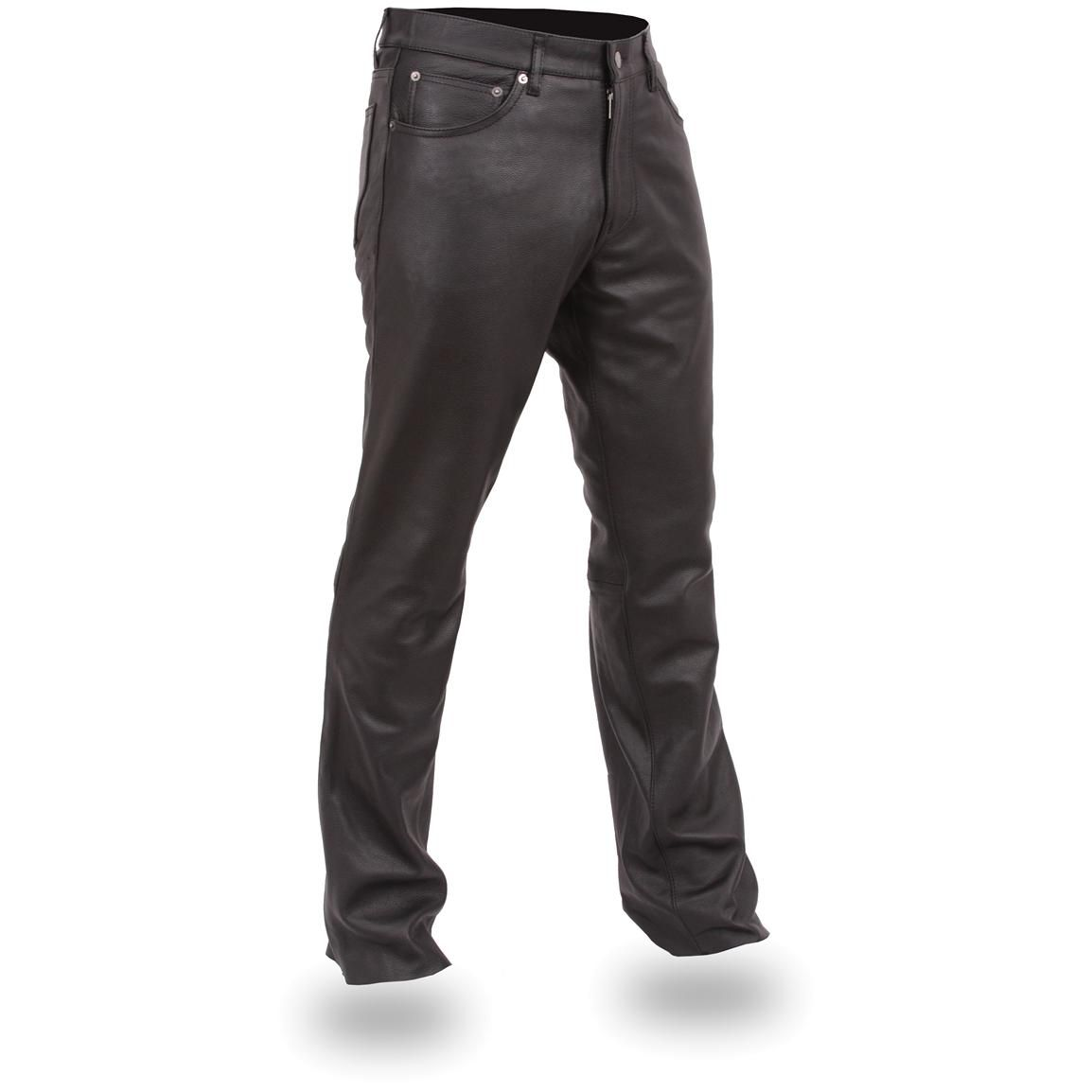 Men's First Classics® Modern Fit 5 - pocket Leather Pants, Black ...
