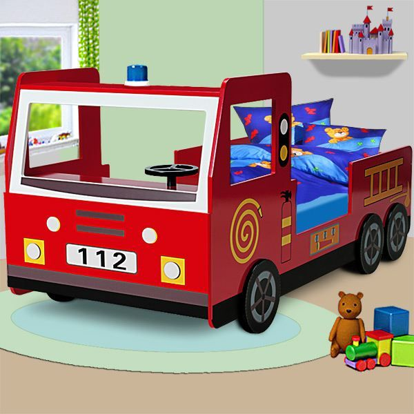 lit enfant design camion pompier avec sommier achat vente ensemble literie cdiscount. Black Bedroom Furniture Sets. Home Design Ideas