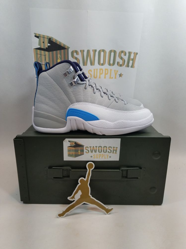 1ec9edde0cbed0 NIKE AIR JORDAN 12 RETRO (BG) WOLF GREY-BLUE SZ 4Y WOMENS SZ 5.5 153265-007   Nike  Athletic