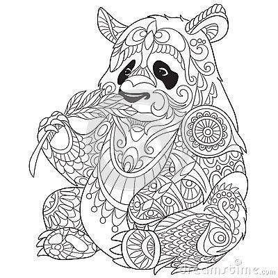 zentangle stilisierte panda | tuto | malvorlagen, malen
