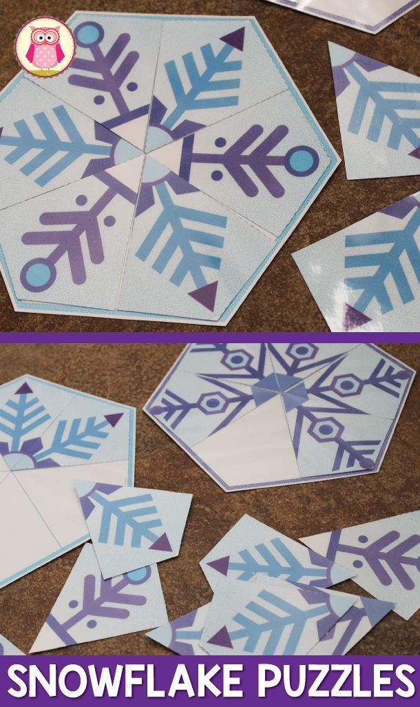 These snowflake matching puzzles are a fun winter themed