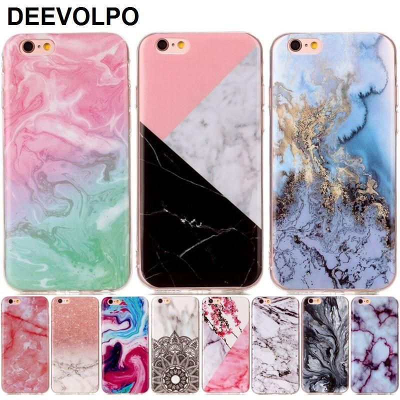0f21074d268 DEEVOLPO Silicone Phone Case Fundas For Apple iPhone 8 7 6 6S Plus 4S 5 5S  SE 5C ipod touch 6 Soft Marble Stone Cover Capa D01G