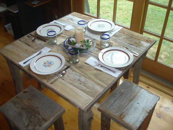 """Driftwood Dining Room Set (""""40 x 40""""x 29""""H Table with 4 Stools). $699.00, via Etsy."""