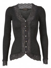 ROSEMUNDE  Wool cardigan with lace in dark grey