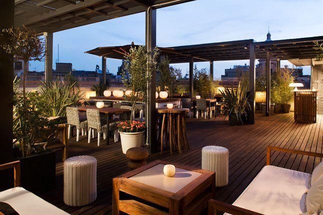 Barcelona Spain Rooftop Bar Hotel Pulitzer Barcelona