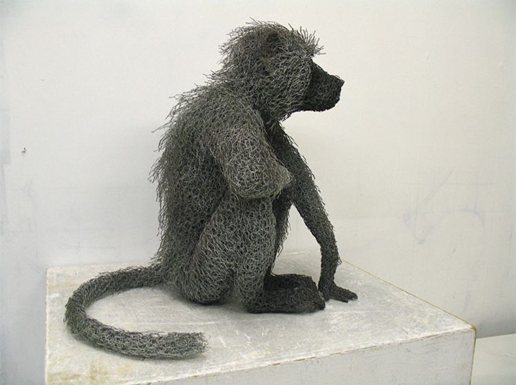 Seated Female Baboon made from chicken wire - artist has more animal ...