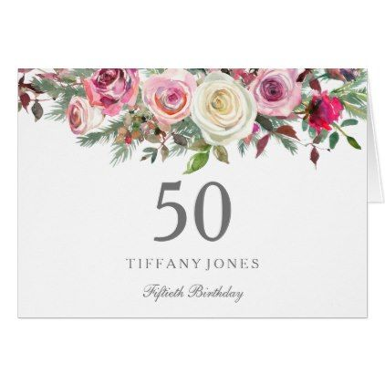 Elegant White Rose Floral 50th Birthday Thank You Floral