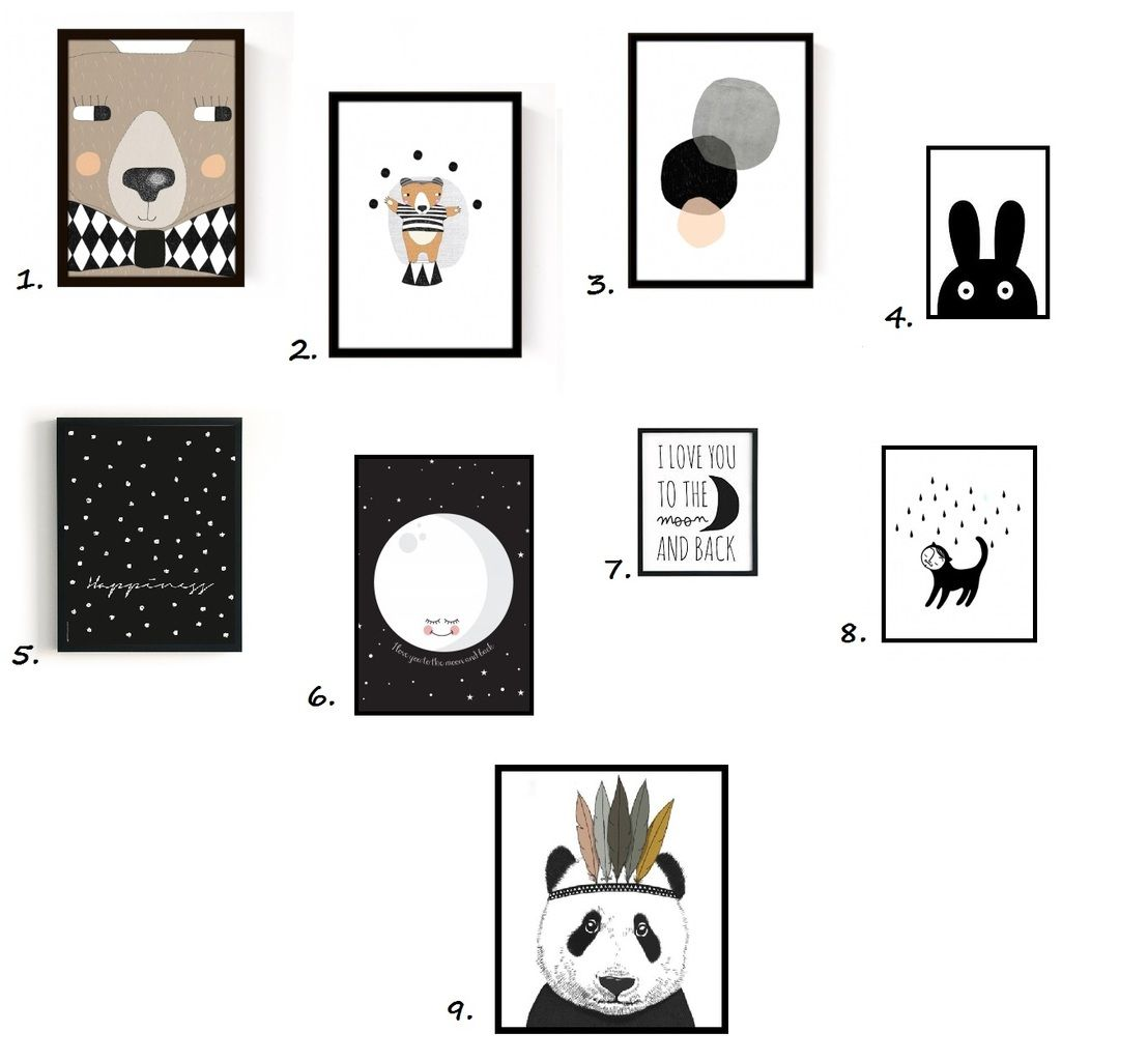 Voici une s lection d affiches en noir et blanc que j appr cie particuli rement je pense que - Chambre enfant noir et blanc ...