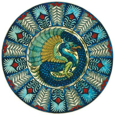 Persianware charger with dragon motif manufactured by William de Morgan, painted by Charles Passenger, ca.1905