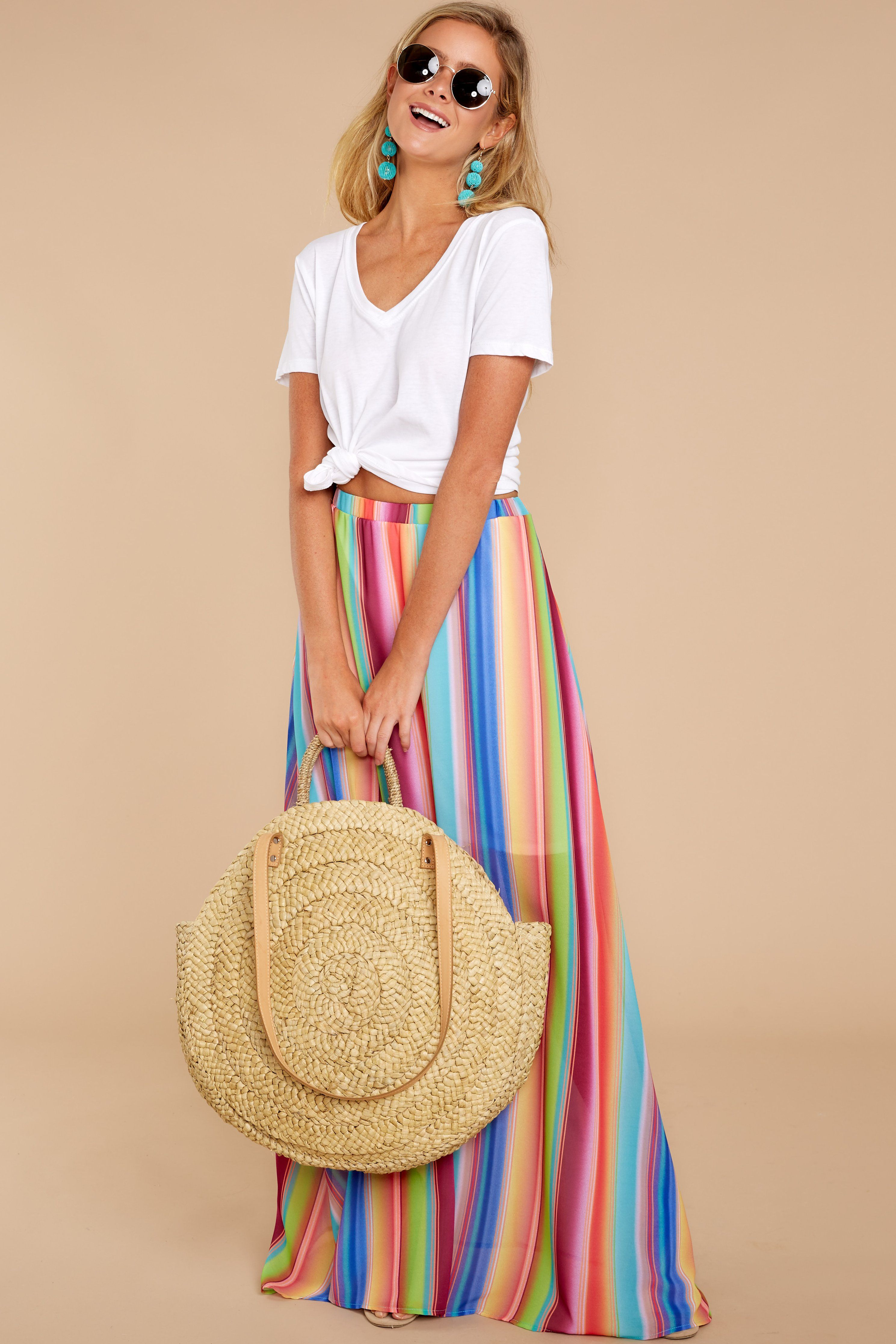 425a45e282 Chic Orange Rainbow Maxi Skirt - Trendy Maxi Skirt - Skirt - $38.00 – Red  Dress Boutique
