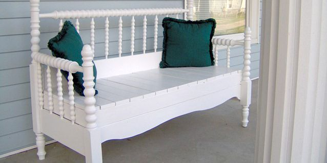 This headboard project is such a great idea. Take an old headboard and turn it into a bench!