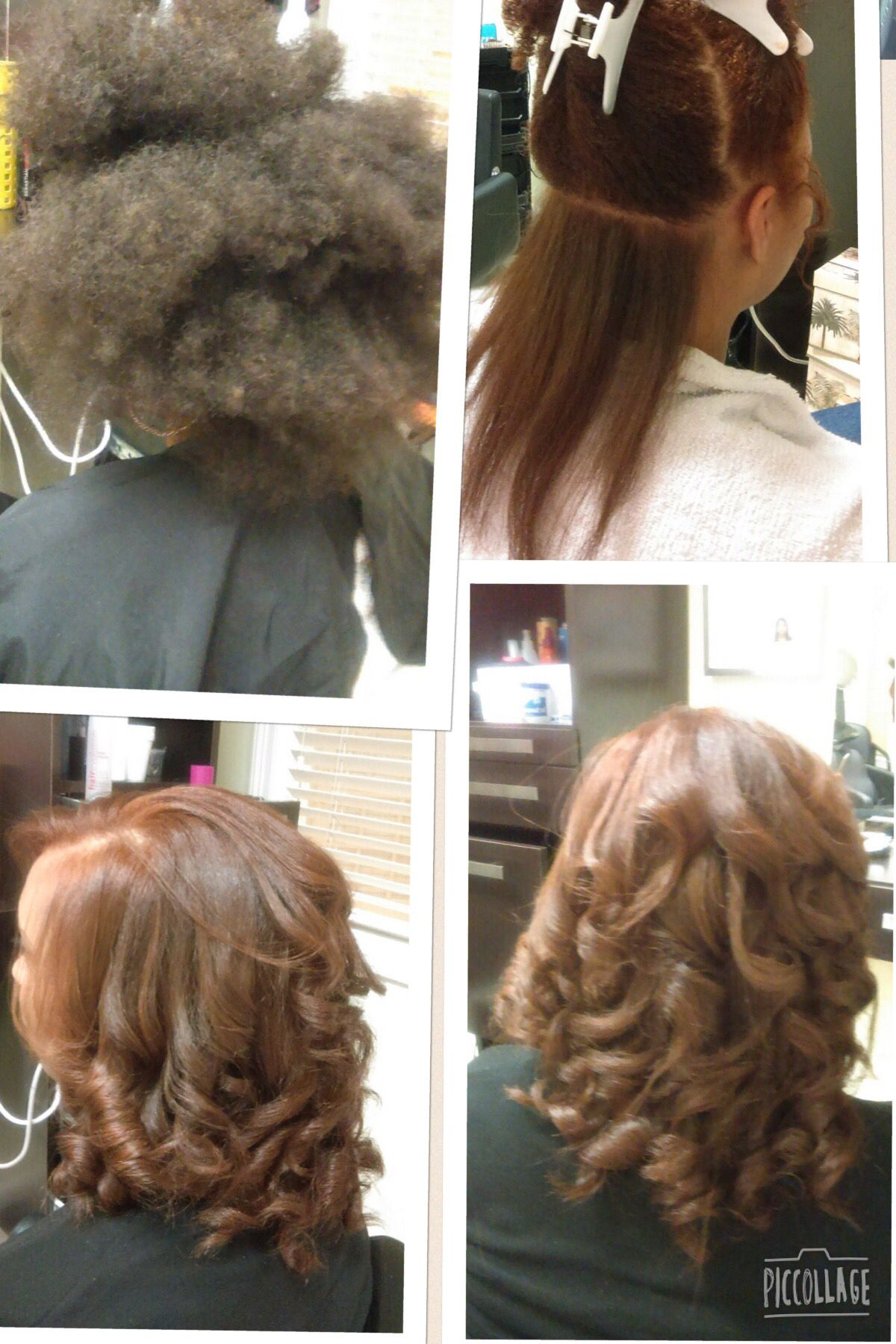 Color and blowout.  Natural hair blowout, Blowout hair, Salon