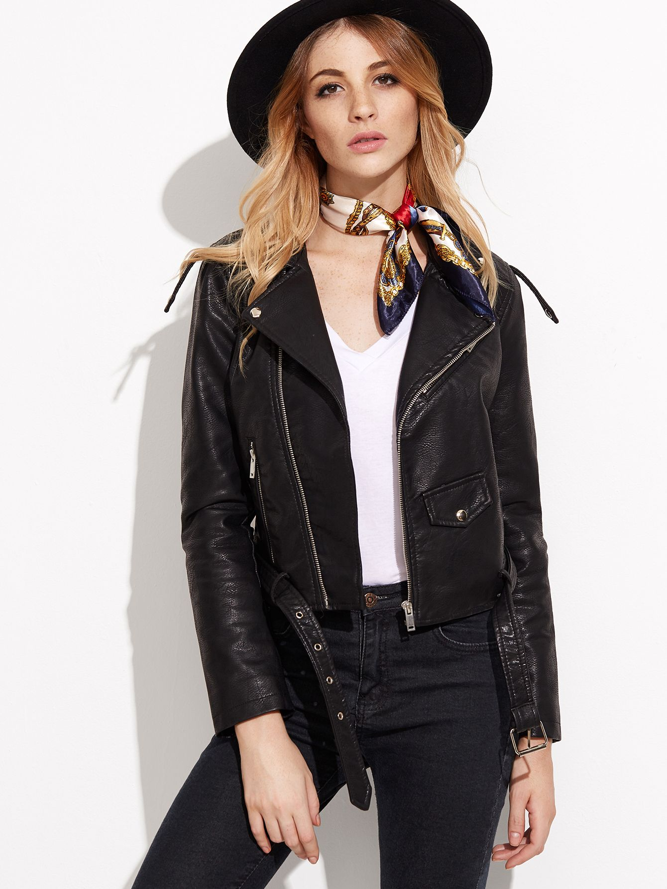 Shop BLack Faux Leather Belted Moto Jacket With Zipper