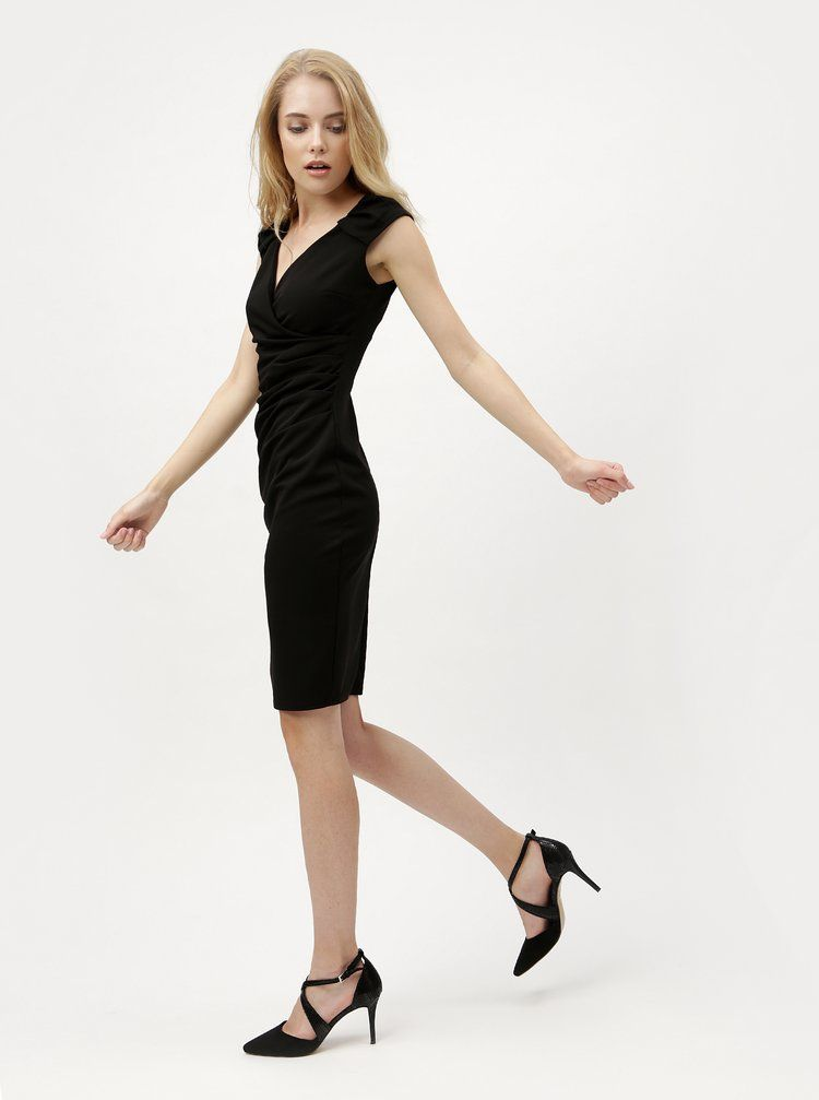 Čierne puzdrové šaty s prekladaným výstrihom ZOOT  b68e714f234