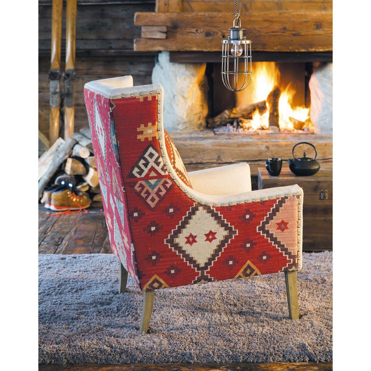 Fauteuil De Salon Lin Motifs Kilim Decor Chair