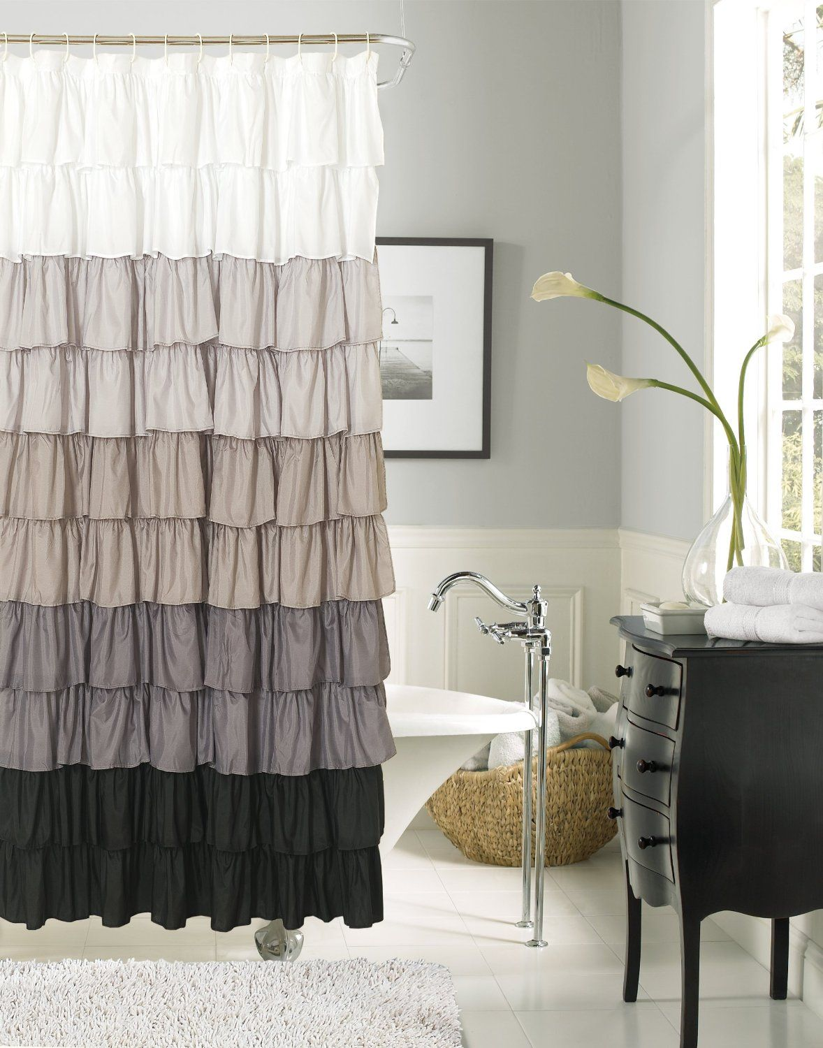 New In Package Dainty Home Flamenco Ruffled Shower Curtain 70 X 72 Black Grey