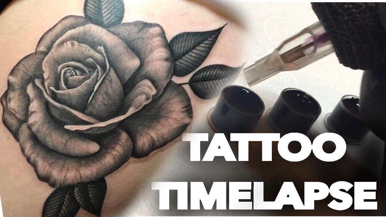 Black And Grey Realistic Rose Tattoo