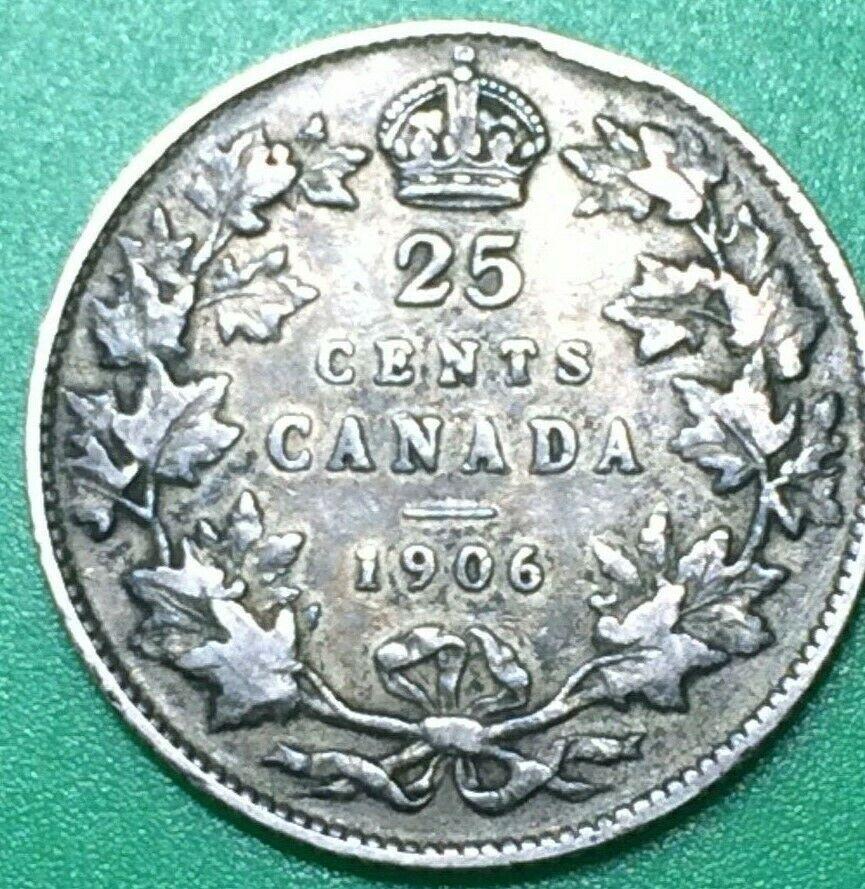 1906 Canada 25 Cent Silver Coin.
