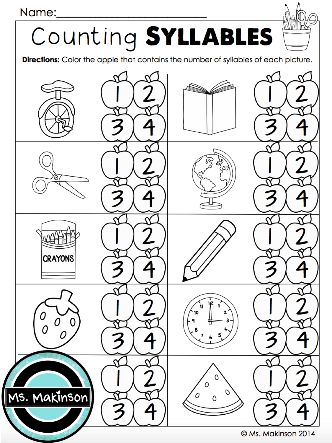 Counting Syllables First Grade Printables For Back To School 1st Grade Reading Worksheets Kindergarten Worksheets Syllable Worksheet